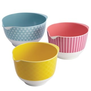 Cake Boss Countertop Accessories 3-piece Basic Pattern Melamine Mixing Bowl Set