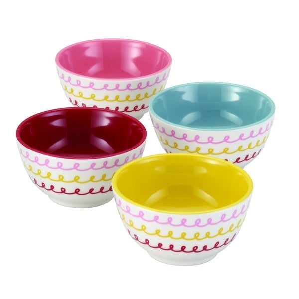 Cake Boss Countertop Accessories 4-Piece Melamine Prep Bowl Set ('Icing' Pattern)