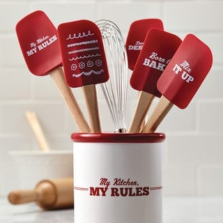 "Cake Boss Red 'Mix It Up' Novelty Tools 11.5"" Silicone Scraping Spatula"