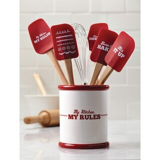 Cake Boss 'My Kitchen, My Rules' Cream/ Red Countertop Accessories Ceramic Tool Crock