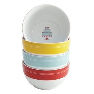 Cake Boss Serveware 4-piece 'Mini Cakes' Print Porcelain Ice Cream Bowl Set
