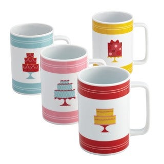 Cake Boss Serveware 4-piece 'Mini Cakes' Print Porcelain Mug Set
