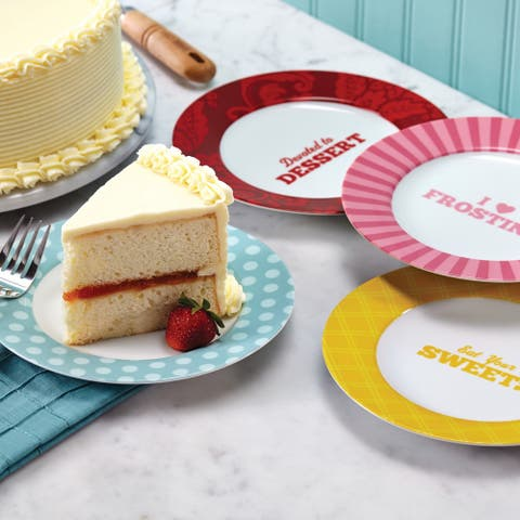 Cake Boss Serveware 4-Piece Porcelain Dessert Plate Set Patterns and Quotes