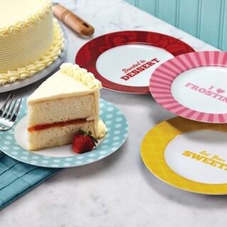 Cake Boss 'Patterns & Quotes' Serveware 4-Piece Porcelain Dessert Plate Set