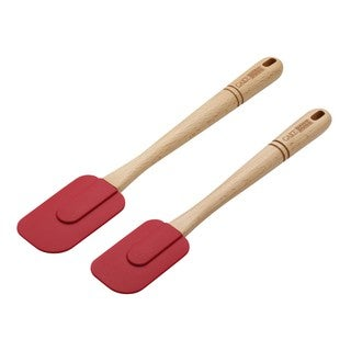 Cake Boss Red Wooden Tools and Gadgets 2-Piece Silicone Spatula Set