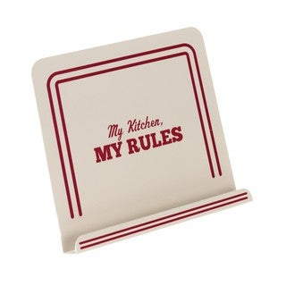 Cake Boss Cream Countertop Accessories Metal Cookbook Stand with 'My Kitchen, My Rules' Decal