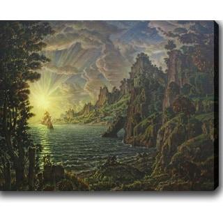 Konstantin Bogaevsky 'The ships. The evening sun' Oil on Canvas Art