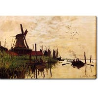 Claude Monet 'A Windmill at Zaandam' Oil on Canvas Art