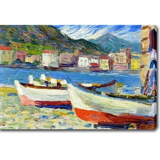 Wassily Kandinsky 'Rapallo boats' Oil on Canvas Art