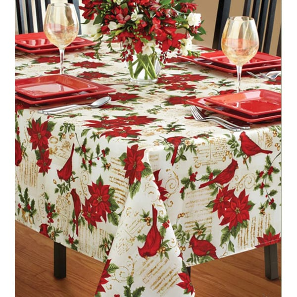 Shop Holiday Cardinal Textured Tablecloth Free Shipping