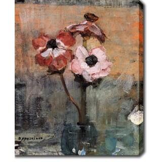 Piet Mondrian 'Anemones in a Vase' Oil on Canvas Art