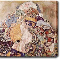 Gustav Klim 'Baby' Oil on Canvas Art