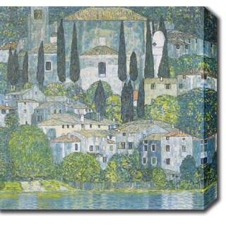 Gustav Klim 'Chruch in Cassone' Oil on Canvas Art