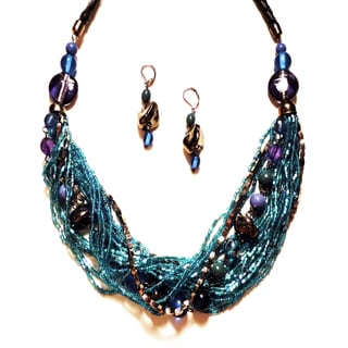 Pavcus Designs Aqua Blue Multi-strand Beaded Necklace and Earring Set