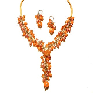 Pavcus Designs Tangerine Orange Beaded Y Necklace and Earring Set