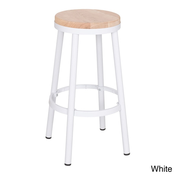 Modern 30-inch Round Backless Metal Barstool with Footrest