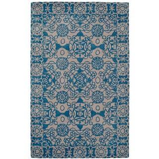 Paragon Light Grey/ Blue Wool Rug (8' x 11')