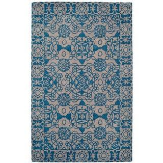Paragon Light Grey/ Blue Wool Rug (2' x 4')