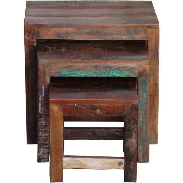 Timbergirl Old Reclaimed Wood 3 Piece Nesting Tables (India)   Free  Shipping Today   Overstock.com   16243229