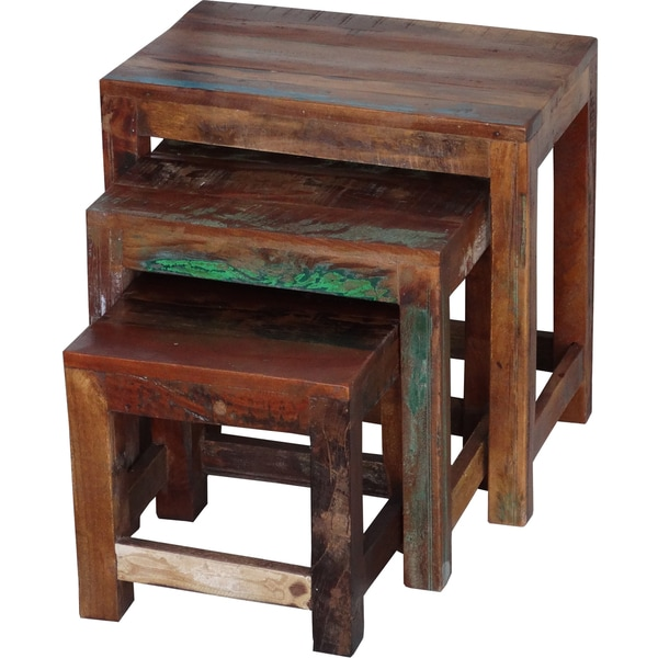 91cfa0789a Shop Timbergirl Old Reclaimed Wood 3-piece Nesting Tables (India) - Largest  table: 20