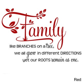 """'Family, Like Branches on a Tree..."""" Two-tone Vinyl Wall Decal"""
