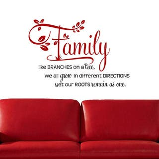 """'Family, Like Branches on a Tree..."""" Two-tone Vinyl Wall Decal