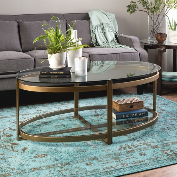 Oval Glass Coffee Table 3 Piece Set Furniture Home Decor: Retro Glitz Glass/ Metal Coffee Table