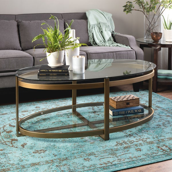 Brass Display Coffee Table: Retro Glitz Glass/ Metal Coffee Table