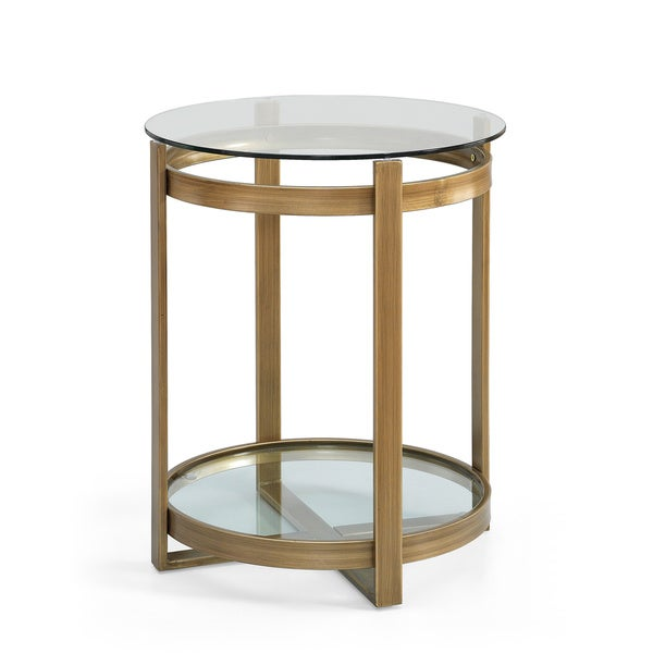 Retro Glitz Glass/ Metal End Table   Free Shipping Today   Overstock.com    16243287