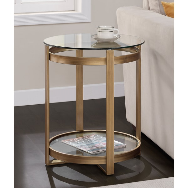 Shop Strick Bolton Retro Glitz Glass Metal End Table Free