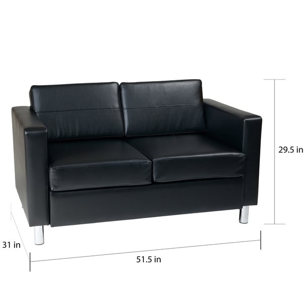 Porch & Den Wade Black Faux Leather Loveseat