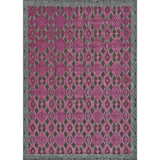 Grand Bazaar Viscose Sagio Area Rug in Dark Gray/ Raspberry (5'3 x 7'6)