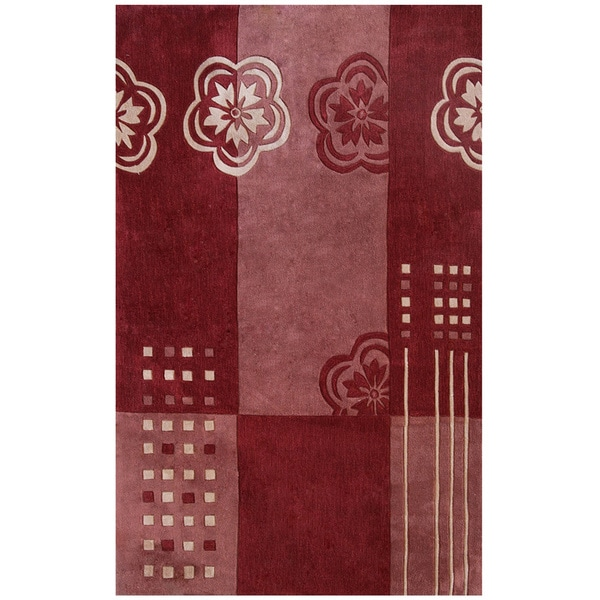 Hand-tufted Symphony Floral Color Block Rug (8' x 11')