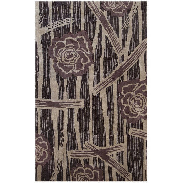 Hand-tufted Symphony Floral Forest Rug (8' x 11') - 8' x 11'