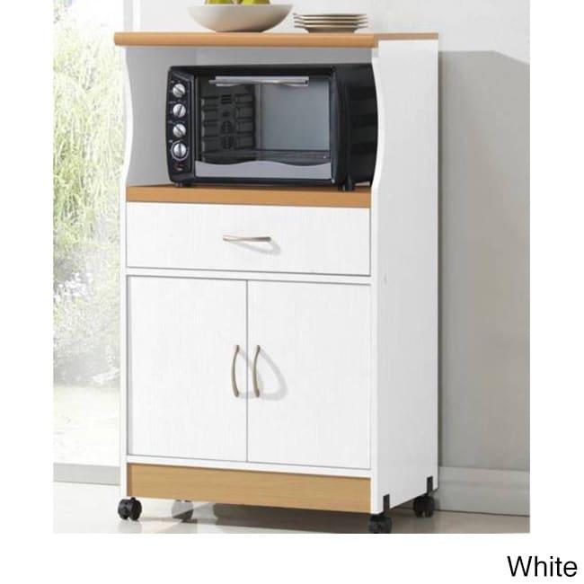 Microwave 2 Door Wood Cart Stand
