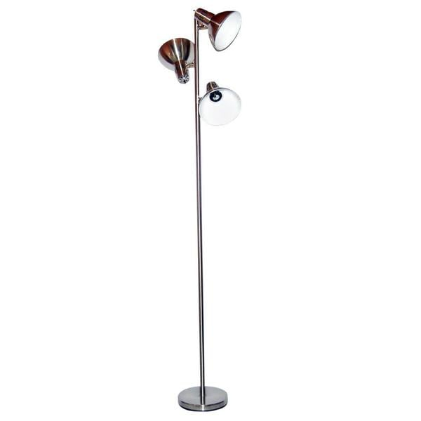 Polished silver metal adjustable 3 light floor lamp free for Overstock silver floor lamp