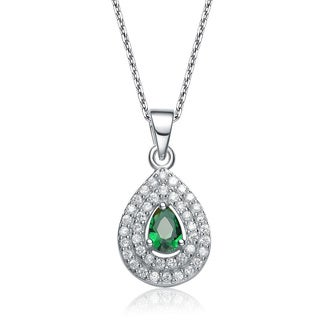 Collette Z Sterling Silver Green and White Cubic Zirconia Pear Shape Necklace