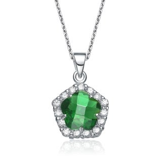 Collette Z Sterling Silver Green and White Cubic Zirconia Flower Shape Necklace