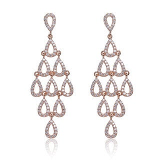 Collette Z Rose-plated Sterling Silver Cubic Zirconia Chandelier Earrings