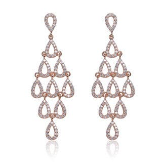 Chandelier cubic zirconia earrings for less overstock collette z rose plated sterling silver cubic zirconia chandelier earrings mozeypictures Choice Image