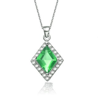 Collette Z Sterling Silver Green and White Cubic Zirconia Diamond-shape Necklace