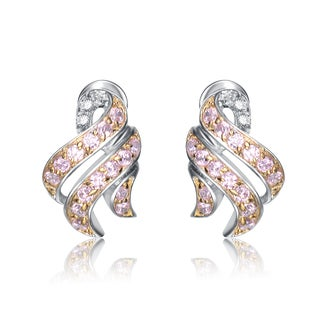 Collette Z Two Tone Sterling Silver Pink Cubic Zirconia Swirl Design Earrings