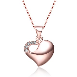 Collette Z Rose-plated Cubic Zirconia Heart Necklace