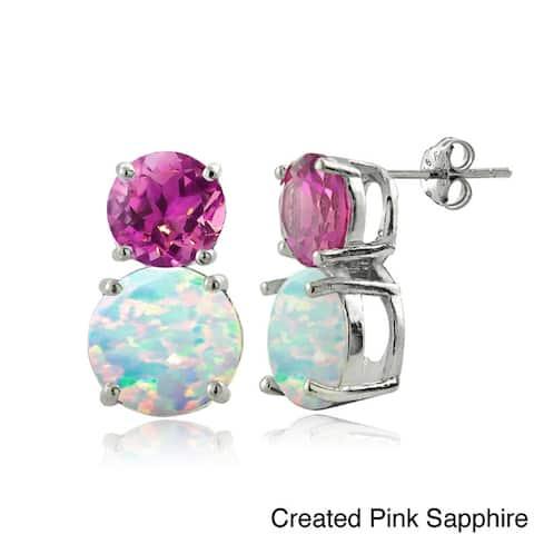Glitzy Rocks Sterling Silver Synthetic Opal and Gemstone Earrings