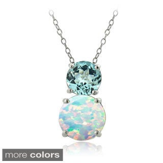 Glitzy Rocks Sterling Silver Synthetic Opal and Gemstone Round Necklace