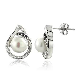 Glitzy Rocks Sterling Silver Pearl and Gemstone Teardrop Earrings