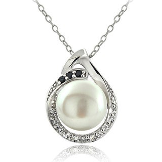Glitzy Rocks Sterling Silver Pearl and Gemstone Teardrop Necklace