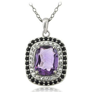 Glitzy Rocks Sterling Silver Amethyst and Black Spinel Cushion-cut Necklace