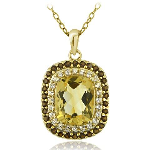 Glitzy Rocks 18k Gold Over Silver Smokey Quartz and Citrine Cushion-cut Necklace