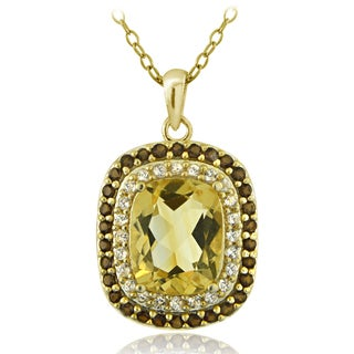 Glitzy Rocks 18k Gold Over Silver Smokey Quartz and Citrine Cushion-cut Necklace